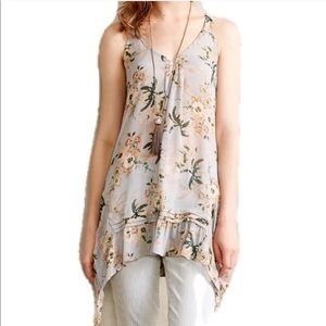 Anthro | Maeve Sleeveless Tunic Floral Blouse